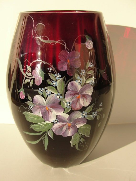Items Similar To Beautiful Hand Painted 7 Quot Ruby Glass Vase