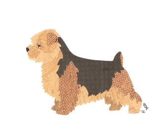 Norfolk Terrier handmade original cut paper collage dog art other patterns & colors available