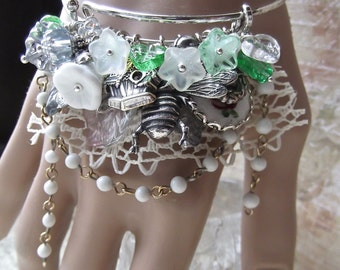 Charm Bangle, Garden Flowers, Silver Charms, Lace, Rosary Chain, Charm Bracelet, Floral Charm Bangle,