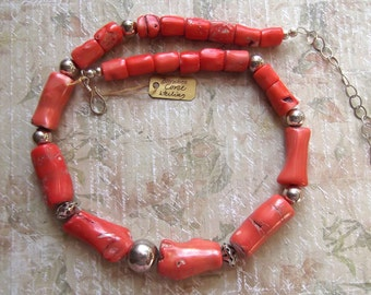 Bamboo Coral, Large Sterling Silver Beads, Warm Color, Adjustable Sterling Chain