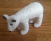 Polar bear needle felted animal gift white home decor