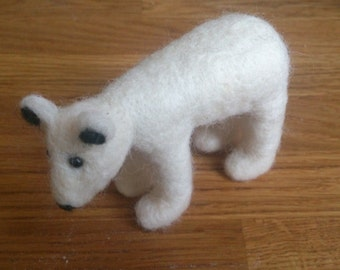 Polar bear needle felted animal gift white home decor