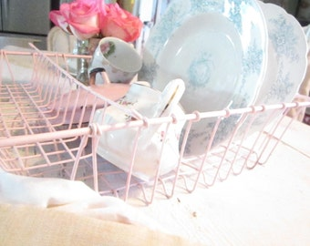 Shabby  pink metal dish FREE SHIPPING   and silverware rack  Shabby chic prairie cottage