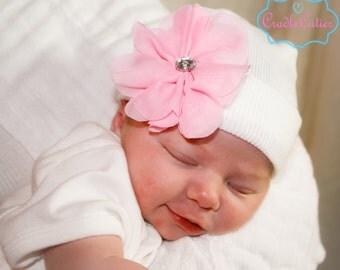 First Bow Newborn Hospital Hat Large Chiffon Flower (newborn girl hat, newborn beanie, newborn hospital hat with bow, first bow)