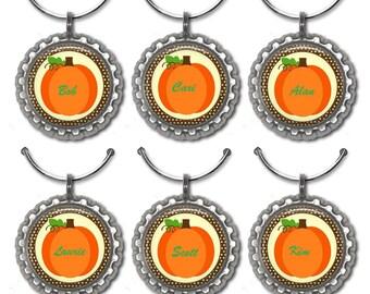 Pumpkin Family Bottle Cap Wine Markers