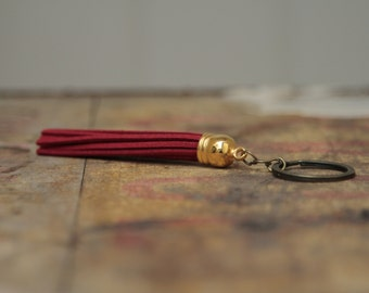 Red long tassel bag charm keychain key ring