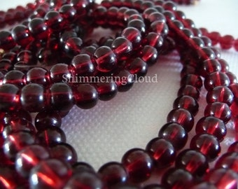 Round beads, glass, chez, 5 mm, supplies, jewelry, round, deep red, burgundy, amber, jewelry supplies, glass beads, pressed, cognac,