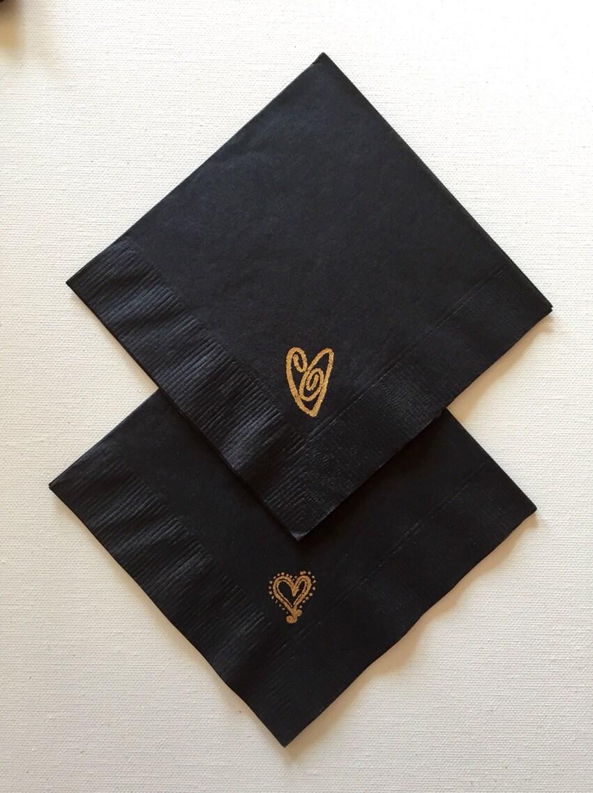 Black Cocktail Napkins : Cocktail napkins wedding anniversary black gold heart hand