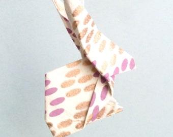 Purple, golden and beige Origami Rabbit pendant