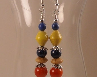 Multicolor Beaded Dangle Earrings with Beads for Life Paper Beads