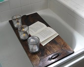 Wooden Bath Tray Rustic Decorative Wooden Serving Tray Personalized Wedding Gift Bridal Shower Gift ottoman Housewarming
