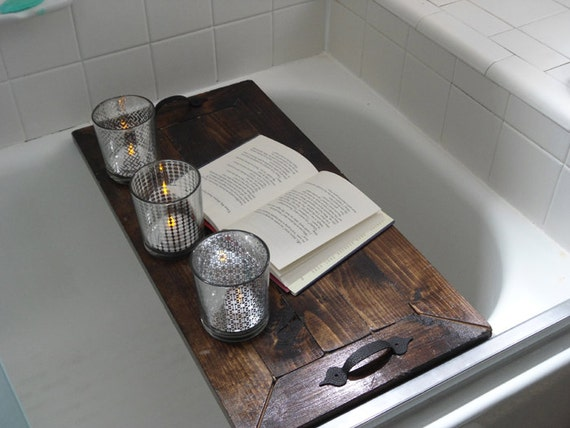 Items similar to wooden bath tray rustic decorative wooden for Decorative bathroom tray
