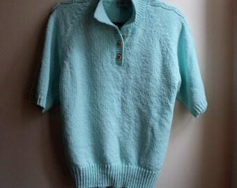 1980s Light Turquoise Short Sleeve Sweater