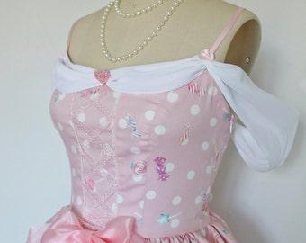 Pink Sugary Sweet Polka Dot Candy Land JSK Dress with Chiffon Off the Shoulder Sleeves Wrap, Satin Ribbon, Boning, Rose Lace, Sweet Lolita