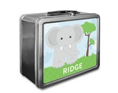 Elephant Lunch Box - Personalized Kids Lunch Box - Vintage Metal Lunch Box - Chalkboard Lunchboxes