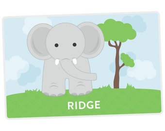 Elephant Placemat - Personalized Placemat for Kids - Custom Placemat - Activity Placemat - laminated, double-sided