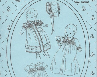 Baby Clothes / Smocked Baby Clothes / Smocked Dress / Smocked Bonnet / Layette / Jeannie Baumeister / Patterns  by The Old Fashioned Baby