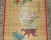 Vintage Chinese Bamboo Wall Art Hanger Multi-Color Floral Vase Table Book Words 3' by 2' Pacific Asian Home Decor