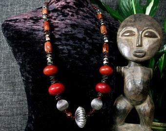 African Jewelry, Statement Necklace, Boho Hippie, Ethnic Jewelry, Tribal Necklace, Ancient Jewelry, African Amber, Trade Beads Beadwork