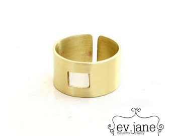 Square Wide Band Ring Brass Hand Cut Metalsmith Oxidized Boho Hippie Rustic Stacking Statement Adjustable