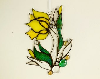 Yellow Tulip Suncatcher Stained Glass Sun catcher Home Decor