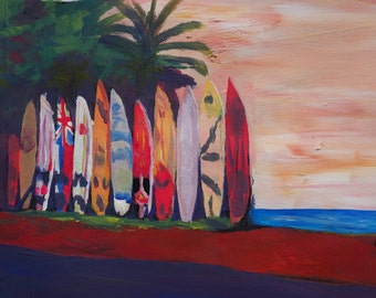 Beach Scene Surf Board Fence Wall at the Seaside -  Limited Edition Fine Art Print