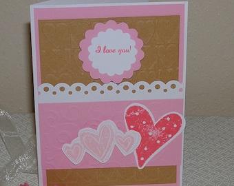 I love you card - heart card, pink heart, Valentine card, Love you, greeting card, Happy Valentines Day, sweetheart card
