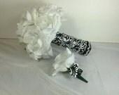 White Bridal Bouquet,  Wedding Bouquet, Grooms Boutonniere, 2Pc Bouquet Set, Wedding Flowers,  White Roses ,Bridal Bouquet, Floral Bouquet