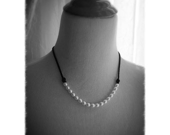 Freshwater Pearl Suede Necklace, Boho and Shabby Chic, Casual Pearl Necklace