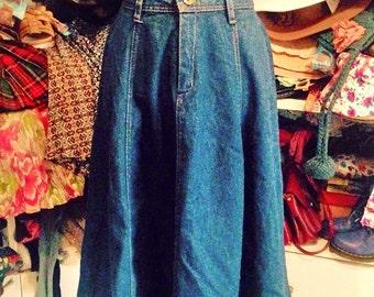 Vintage high waist fly denim skirt
