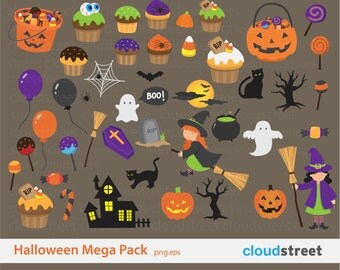 20% OFF Halloween clip art mega pack for personal and commercial use ( halloween clipart ) vector illustration