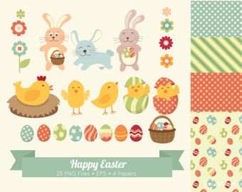 20% OFF Happy Easter Clip Art for personal and commercial use ( Cute Easter Clipart & Papers ) vector illustration