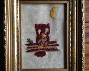 Small Needlepoint Owl Picture