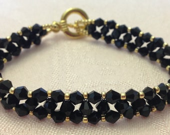 Woven Black Crystal and Gold Woven Bracelet
