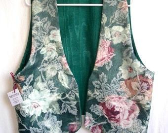 Floral Brocade Vest Dark Green Moire Taffeta Reverse Ladies Size XL