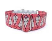 "Scroll Hearts Valentines Dog Collar - 1"" or 1.5"" Martingale or Buckle Dog Collar"