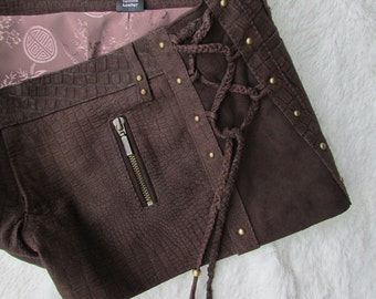 ON SALE suede steampunk shorts brown leather laceup shorts biker pixie style burning man