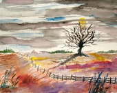 WATERCOLOR LANDSCAPE by CROME  Free Ship