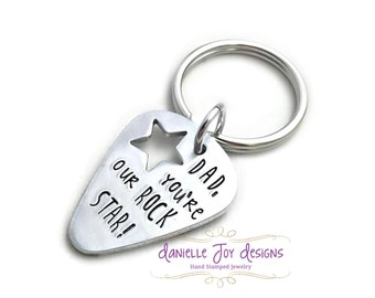 Dad, You're Our Rock Star - Guitar Pick Custom Super Star Hero Key Chain Necklace- Hand Stamped Jewelry - Personalized Jewelry