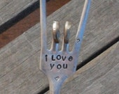 I Love You hand stamped ROCK and ROLL sign vintage silver plate FORK Garden Marker