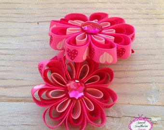 Valentines Hearts Ribbon Flower Clips - Piggy Bow Set