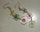 Pierced Earrings Asymmetrical Primary Colors Cane Glass and Hemp Dangles