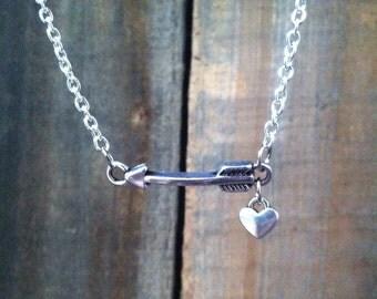 Arrow and Heart Necklace - Arrow Necklace - Arrow Charm - Sideways Arrow Necklace, Horizontal Arrow