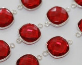 Ruby Red Quartz Faceted Cushion Bezel Gemstone Sterling Silver Connector, 20 x 13 mm GM2236FU/20/SP