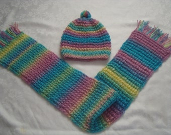 Girl's/Boy's Hat  or  Scarf/ or Set.Handknit. Multicolor. Warm. Preschool Boys Girls 2,3,4.5 years  old.Gift.