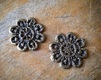 2 Pcs Flower Doily Antique Bronze Vintage Style Handbag Flowers Floral Doilies Pendant Charm Jewelry Supplies (C048)