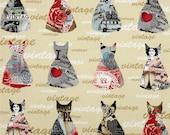 Benartex Fabric - Vintage Scrapbook - Paris Fashion - Tan - Choose Your Cut 1/2 or Full Yard