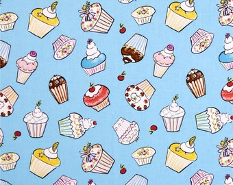 Dena Designs - Free Spirit Fabric - Tiddlywinks - Cupcakes - Blue - Choose Your Cut-1/2 or Full Yard