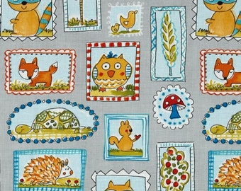 Dena Designs - Free Spirit Fabric - Fox Playground - Frames - Grey - Choose Your Cut-1/2 or Full Yard