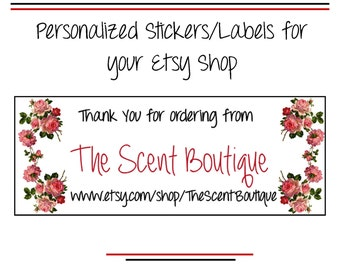 Etsy Shop Labels, Personalized Business Stickers, Thanks for Shopping Custom Seals, Rose Labels, Stickers, Shop Branding, Adhesive Labels
